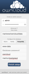 ownCloud with PostgreSQL peer authentication